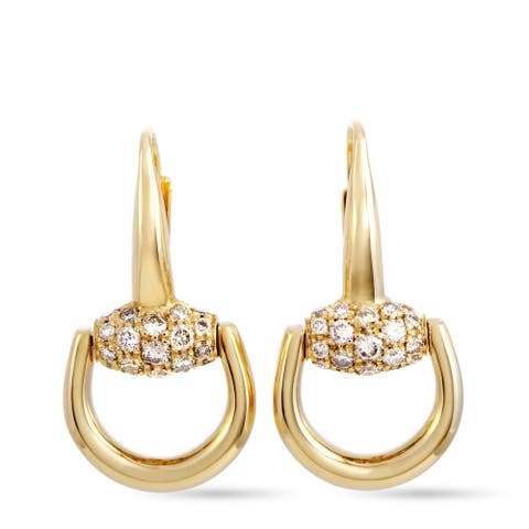 Gucci Horsebit Yellow Gold Brown Diamond Earrings
