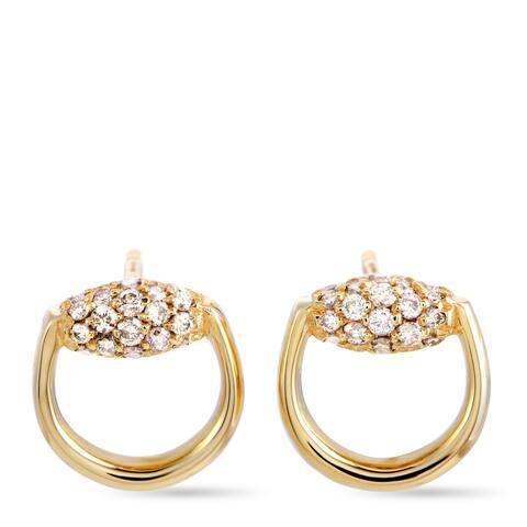 Gucci Horsebit Yellow Gold Brown Diamond Stud Earrings