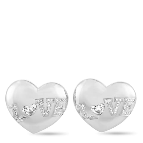 Chopard White Gold Diamond Heart Earrings