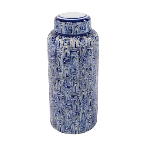 Blue and White Crosshatched Ceramic Jar