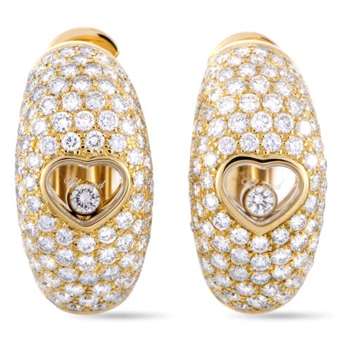 Chopard Happy Diamonds Yellow Gold Floating Diamond Heart Earrings