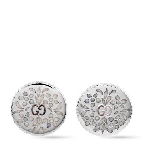 Gucci Icon Blooms White Gold Enamel Earrings