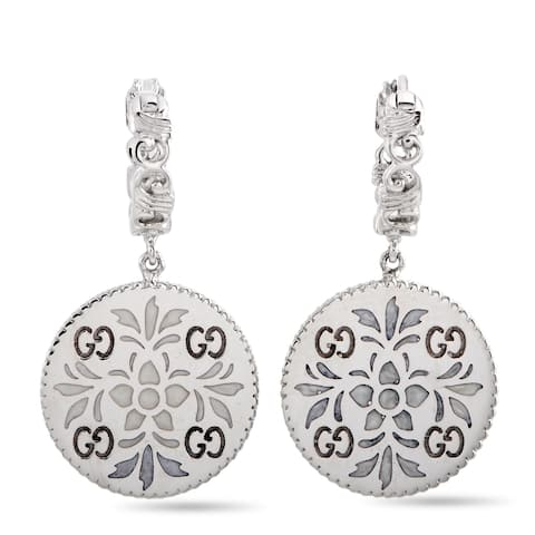 Gucci Icon Blooms White Gold and Enamel Earrings