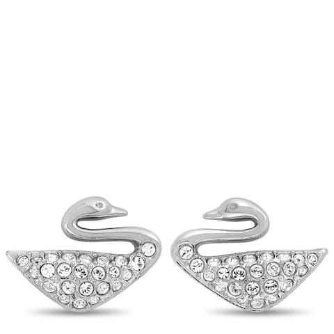Swarovski Swan Rhodium-Plated Stainless Steel and Clear Crystal Stud Earrings