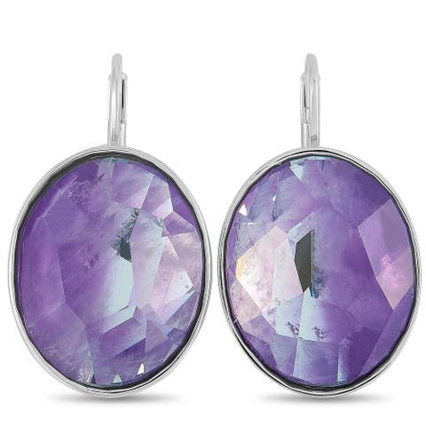 Swarovski Oval Rhodium-Plated Stainless Steel and Purple Crystal Earrings