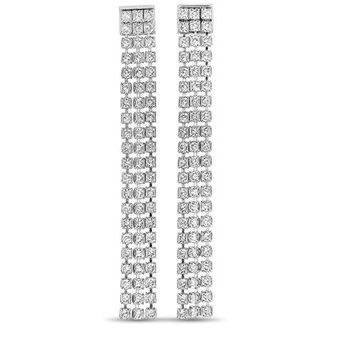 Swarovski Fit Rhodium-Plated Stainless Steel Clear Crystal Earrings