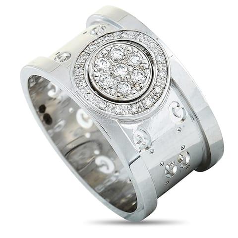 Gucci Icon Twirl White Gold Diamond Band Ring Size 5.25