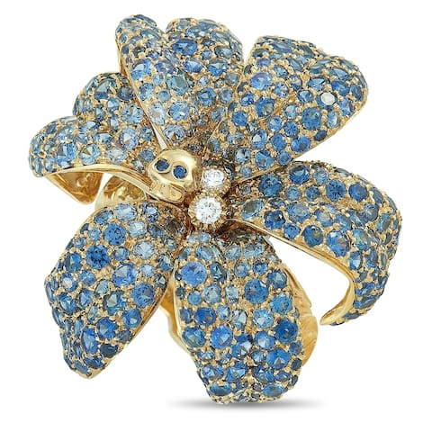 Gucci Flora Yellow Gold Diamond and Blue Sapphire Orchid Ring Size 6.75