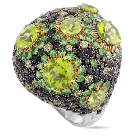 Roberto Coin Fantasia White and Yellow Gold Diamond, Peridot and Tsavorite Cocktail Ring Size 6.5