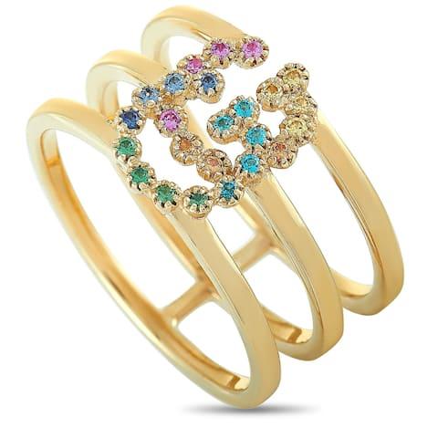 Gucci GG Running Yellow Gold Sapphire and Tsavorite Ring Size 8.5