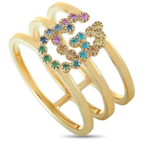 Gucci GG Running Yellow Gold Sapphire and Tsavorite Ring Size 7