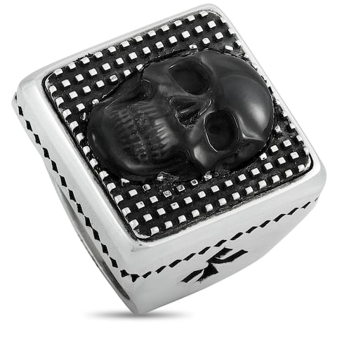 King Baby Silver and Obsidian Skull Square Ring Size 12