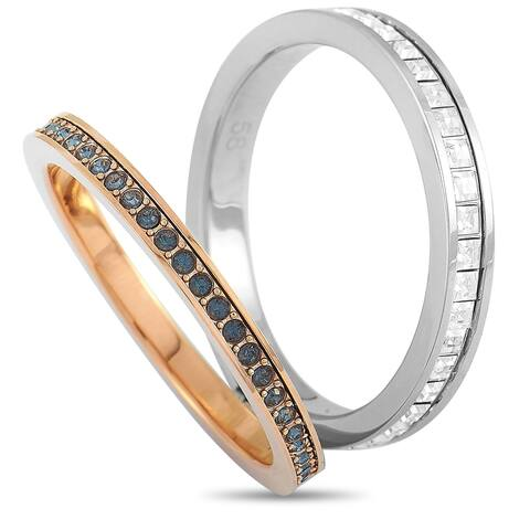 Swarovski Hint Rhodium and Rose Gold-Plated Stainless Steel Black and Clear Swarovski Crystal Double Ring Size 6.75