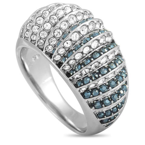 Swarovski Luxury Rhodium-Plated Stainless Steel Black and Clear Swarovski Crystals Ring Size 6.75