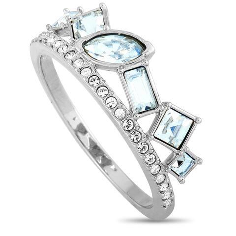 Swarovski Henrietta Rhodium-Plated Stainless Steel and Clear Swarovski Crystal Ring Size 9