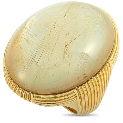Roberto Coin Yellow Gold and Rutilated Mother of Pearl Ring Size 7