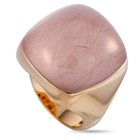 Roberto Coin Rose Gold and Rutilated Quartz Ring Size 6.5
