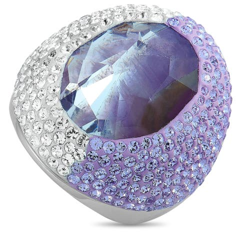 Swarovski Rhodium-Plated Stainless Steel Purple and Clear Crystals Ring Size 8