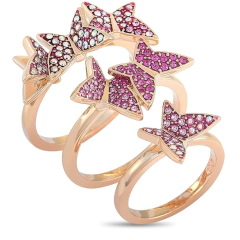 Swarovski Lilia Rose Gold-Plated Stainless Steel Pink and Clear Crystals Stackable Rings Size 8