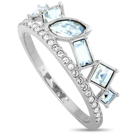 Swarovski Henrietta Rhodium-Plated Stainless Steel and Clear Swarovski Crystal Ring Size 8