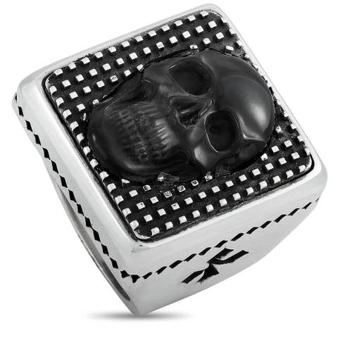 King Baby Silver and Obsidian Skull Square Ring Size 11.5