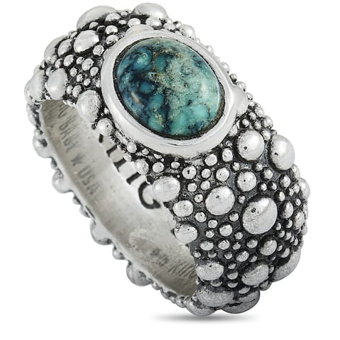 King Baby Silver and Spotted Turquoise Stingray Texture Ring Size 12.5