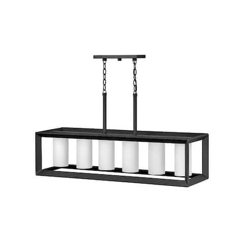 Rhodes 6-Light Linear Brushed Graphite Outdoor Chandelier