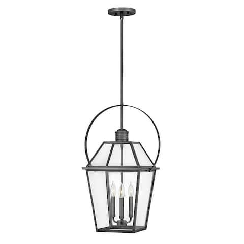 Nouvelle 3-Light Medium Hanging Blackened Brass Outdoor Lantern