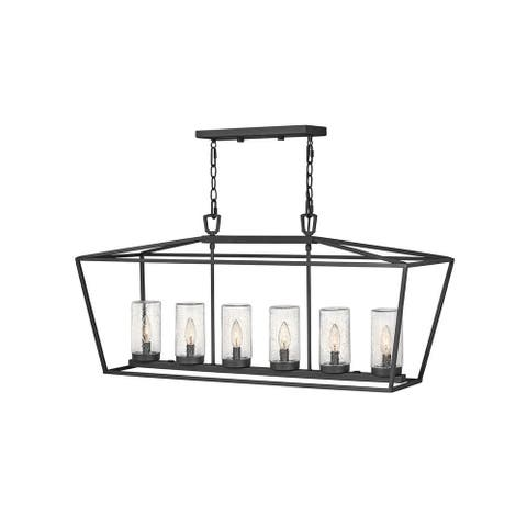 Alford Place 6-Light Linear Museum Black Outdoor Chandelier