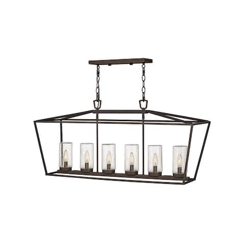 Alford Place 6-Light Linear Oil Rubbed Bronze Outdoor Chandelier