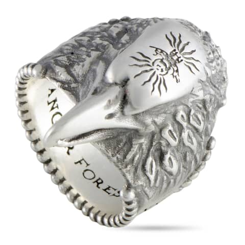 Gucci Anger Forest Silver Eagle Head Ring Size 10.75
