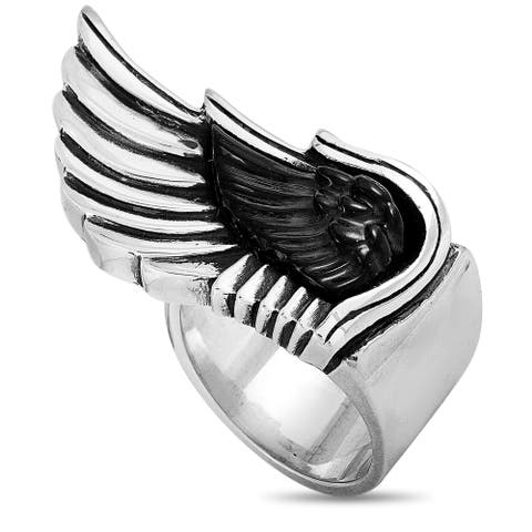 King Baby Silver and Jet Wing Ring Size 12