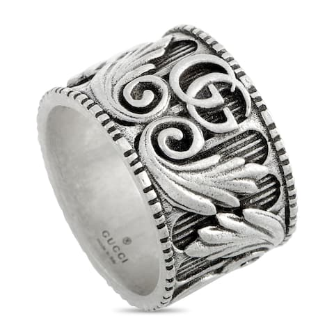 Gucci GG Marmont Aged Sterling Silver Double G Motif Ring Size 9.25