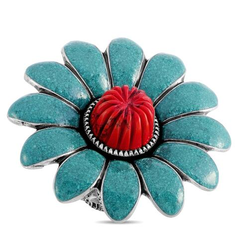 Gucci GG Marmont Sterling Silver Turquoise Enamel and Coral Paste Flower Ring Size 6.25