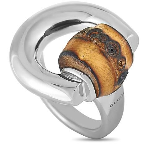 Gucci Bamboo Silver and Natural Bamboo Horsebit Ring Size 6.5
