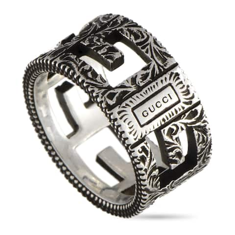 Gucci G Cube Aged Sterling Silver G Motif Ring Size 7.5