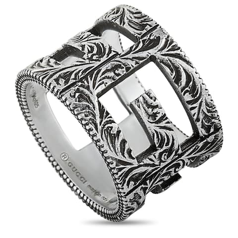Gucci G Cube Aged Sterling Silver G Motif Ring Size 10.25
