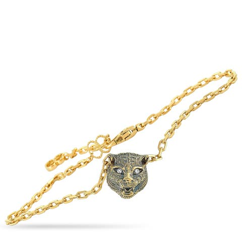 Gucci LMDM Yellow Gold Diamond and Jade Feline Motif Charm Bracelet Size 16