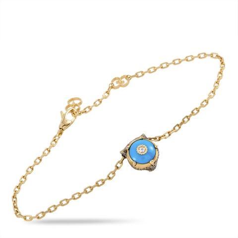 Gucci Le Marché des Merveilles Yellow Gold Diamond and Turquoise Feline Motif Charm Bracelet Size 17