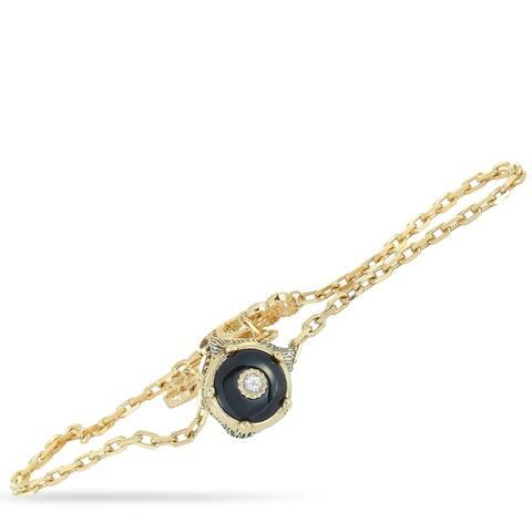 Gucci Le Marché des Merveilles Yellow Gold Diamond Onyx Feline Charm Bracelet Size 18