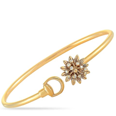 Gucci Flora Rose Gold and Diamond Flower Motif Bracelet Size 16