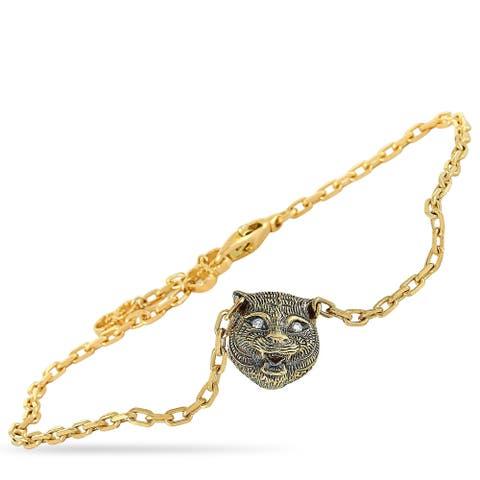 Gucci LMDM Yellow Gold Diamond and Jade Feline Motif Charm Bracelet Size 18