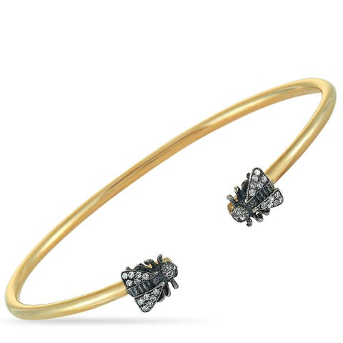 Gucci Le Marché des Merveilles Yellow Gold and Silver Gray Diamond Bee Motif Cuff Bracelet Size 17