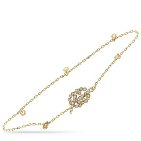 Gucci GG Running Yellow Gold Diamond Bracelet Size 17