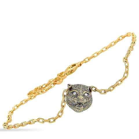 Gucci Le Marché des Merveilles Yellow Gold Diamond and Turquoise Feline Motif Charm Bracelet Size 18
