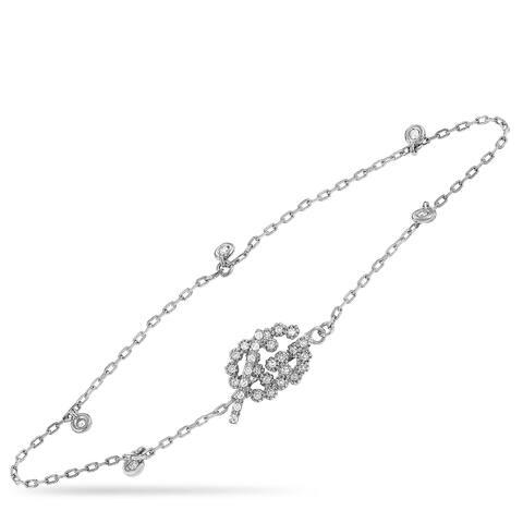 Gucci GG Running White Gold Diamond Bracelet Size 16
