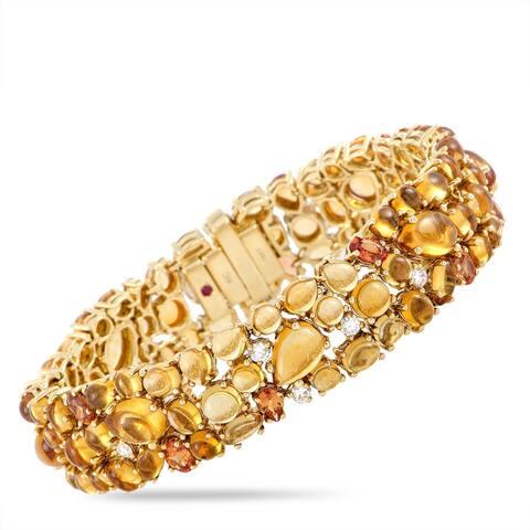 Roberto Coin Yellow Gold Diamond, Citrine and Orange Sapphire Bangle Bracelet