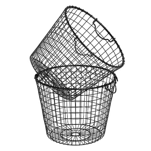 Set of 2 Stackable Metal Storage Baskets