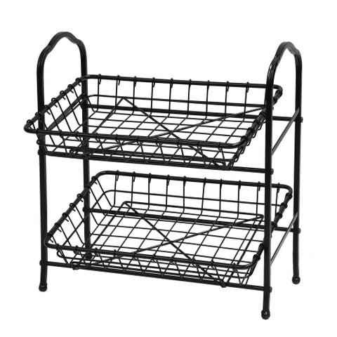 2-Tier Metal Hand Crafted Basket With Durable Finish and Removable Baskets