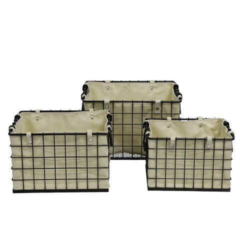 Set of 3 Foldable Metal Storage Baskets with Removable Canvas Liners